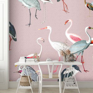 Daring Walls Behang Royal cranes - pink