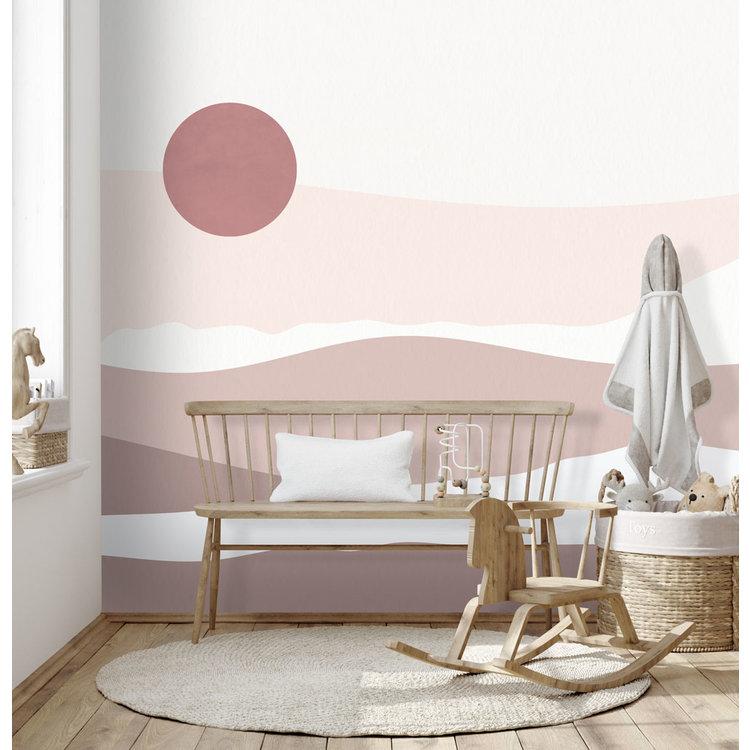 Daring Walls Behang Abstract sunset - pink