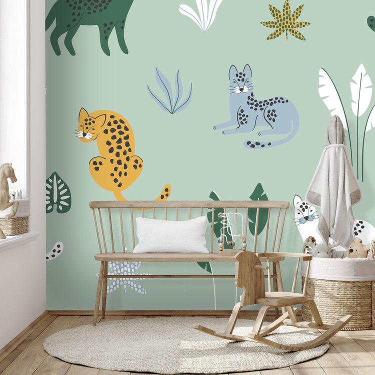 Daring Walls Behang Jungle cats -green blue