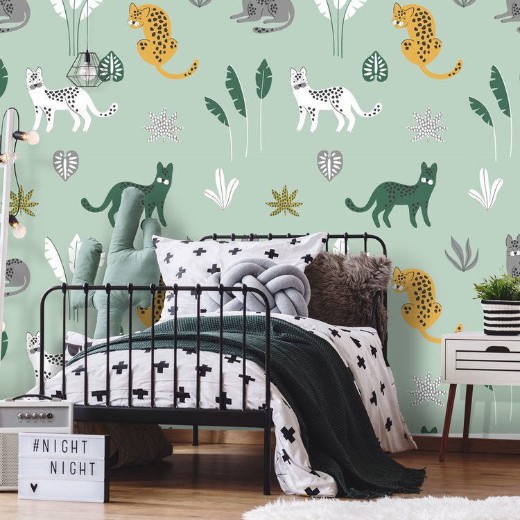 Daring Walls Behang Jungle cats -green grey