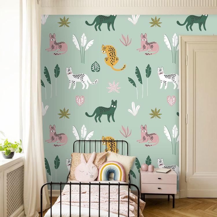Daring Walls Behang Jungle cats -green pink