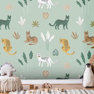 Daring Walls Behang Jungle cats -green brown