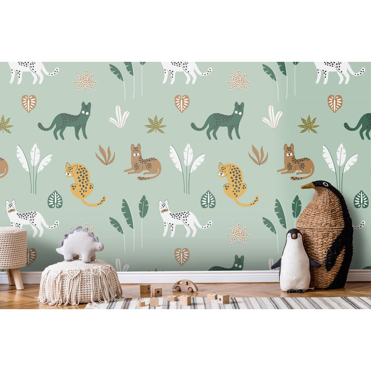 Daring Walls Behang Jungle cats -green brown