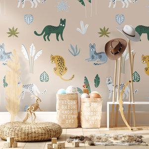 Daring Walls Jungle cats wallpaper - blue sand