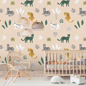 Daring Walls Behang Jungle cats - sand  grey