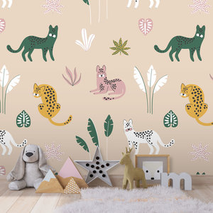 Daring Walls Behang Jungle cats - sand  pink