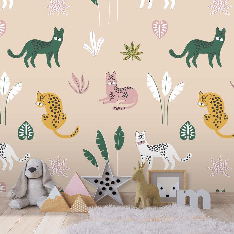 Daring Walls Behang Jungle cats - sand  pink