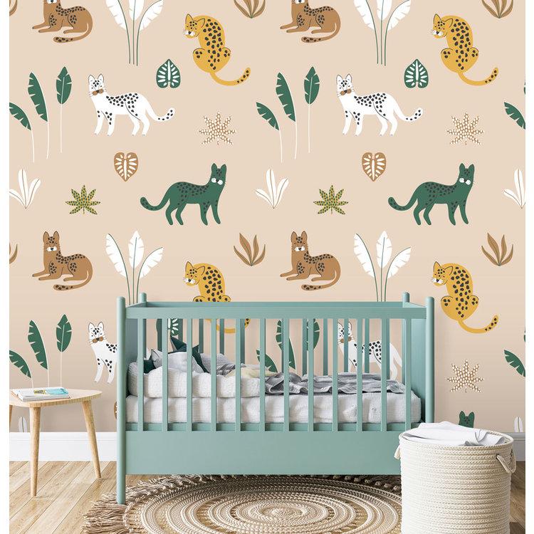 Daring Walls Behang Jungle cats - sand  brown