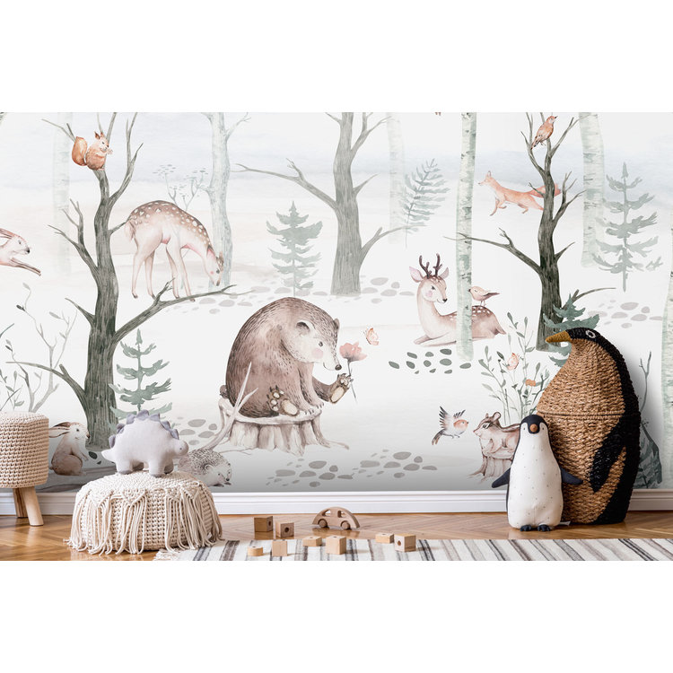 Daring Walls Kinderbehang Watercolor Forest Friends light grey - Copy