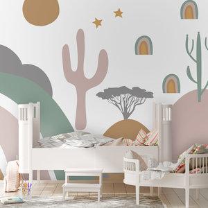 Daring Walls Behang Desert Landscape - pink