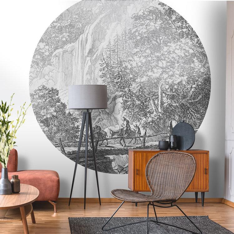 Daring Walls Behangcirkel Old Landscapes 1- grey - 190 cm SALE