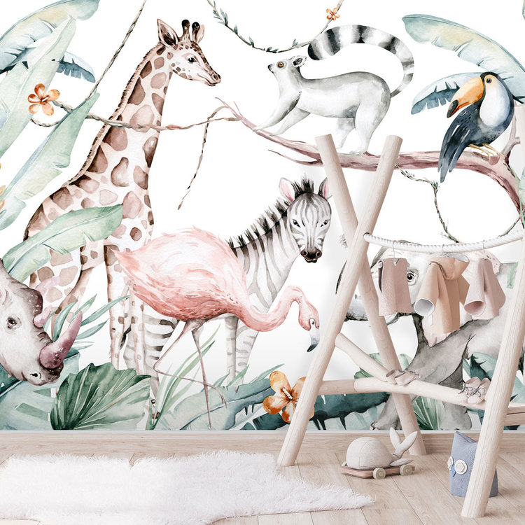 Daring Walls Kinderbehang Watercolor Savanna - white