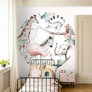 Daring Walls Behangcirkel Watercolor Savanna - white