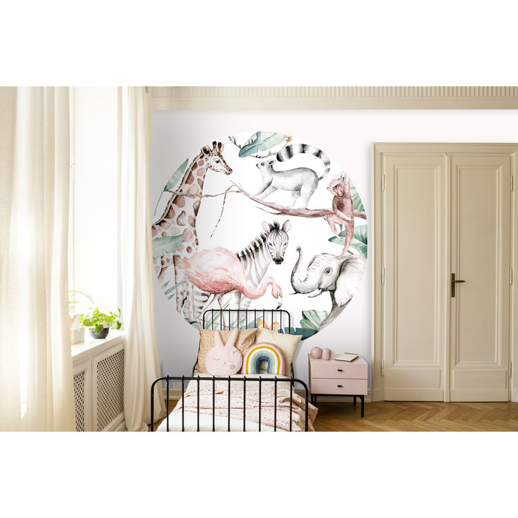 Daring Walls Behangcirkel Watercolor Savanna - white