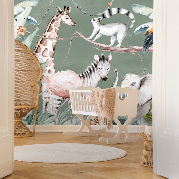 Daring Walls Kinderbehang Watercolor Savanna - green