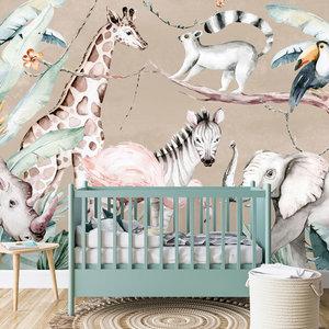 Daring Walls Kinderbehang Watercolor Savanna - terra