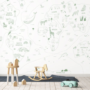 Daring Walls Behang Worldmap Line art - green