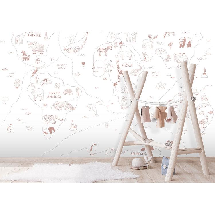 Daring Walls Behang Worldmap Line art - pink
