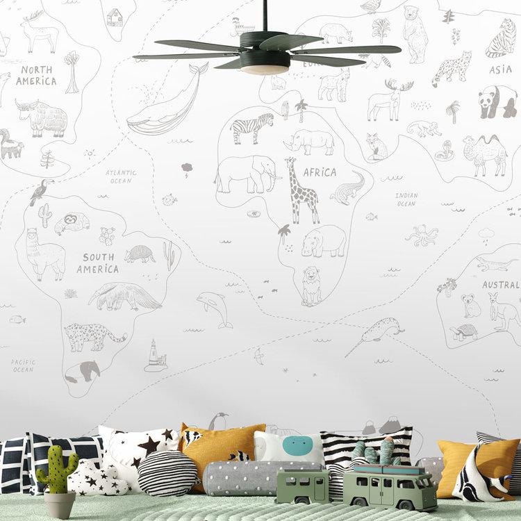 Daring Walls Behang Worldmap Line art - grey