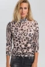 Marc Aurel Tshirt col nude black tijgerprint