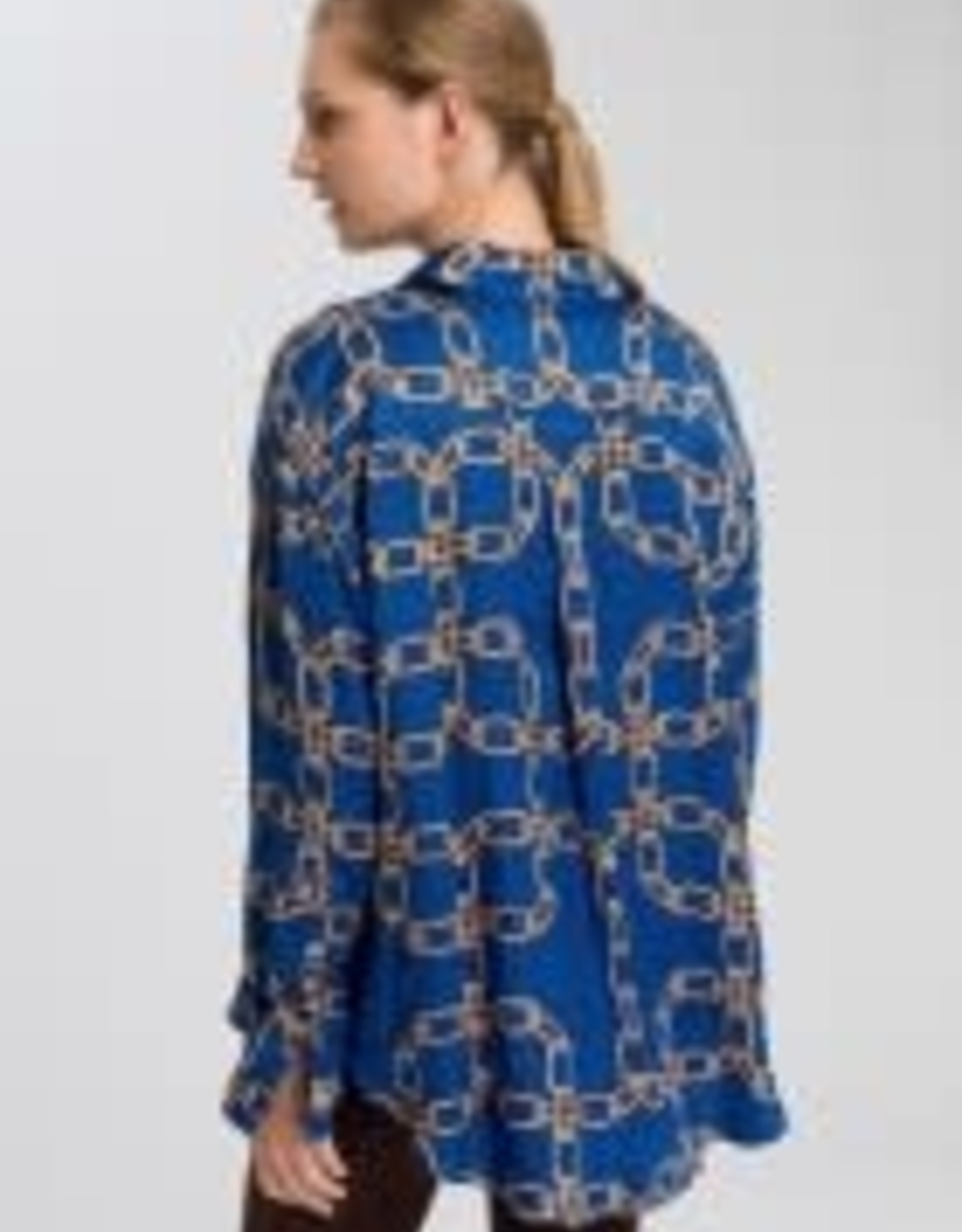 Marc Aurel Blouse Royal bleu ketting print