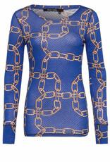 Tshirt blauw bruim ketting  print