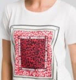 Marc Aurel T-shirt Khaki Red print