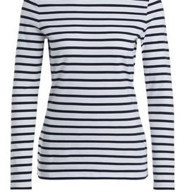 Oui T-shirt Ronde hals Streep Navy White