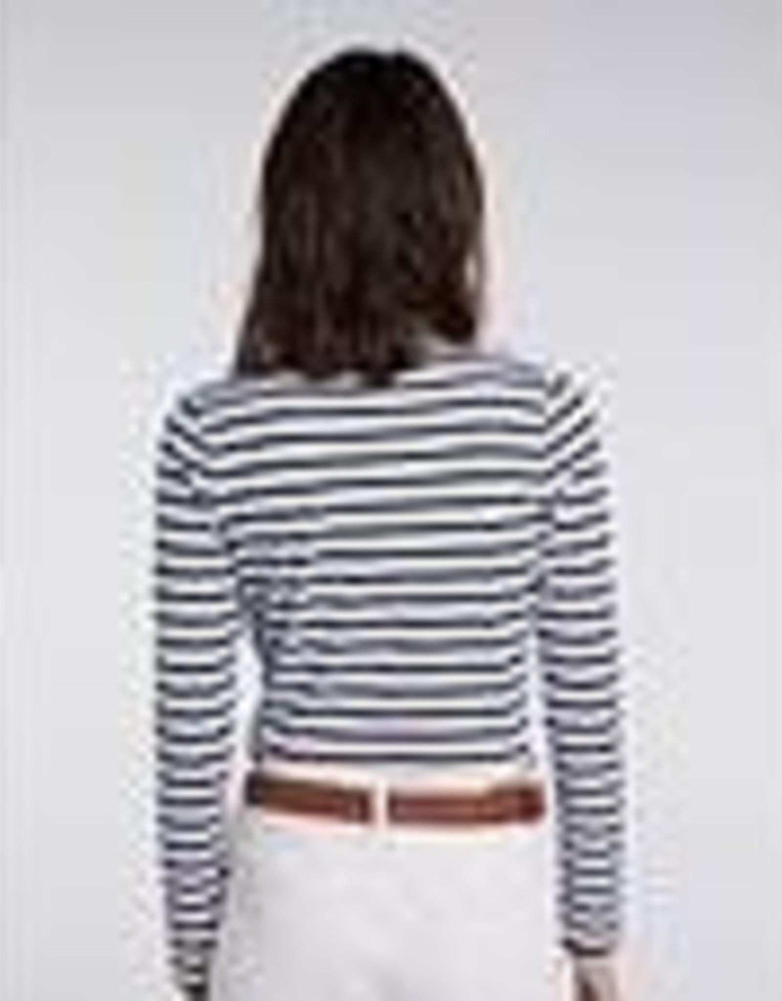 Oui T-shirt Ronde hals Streep Navy White