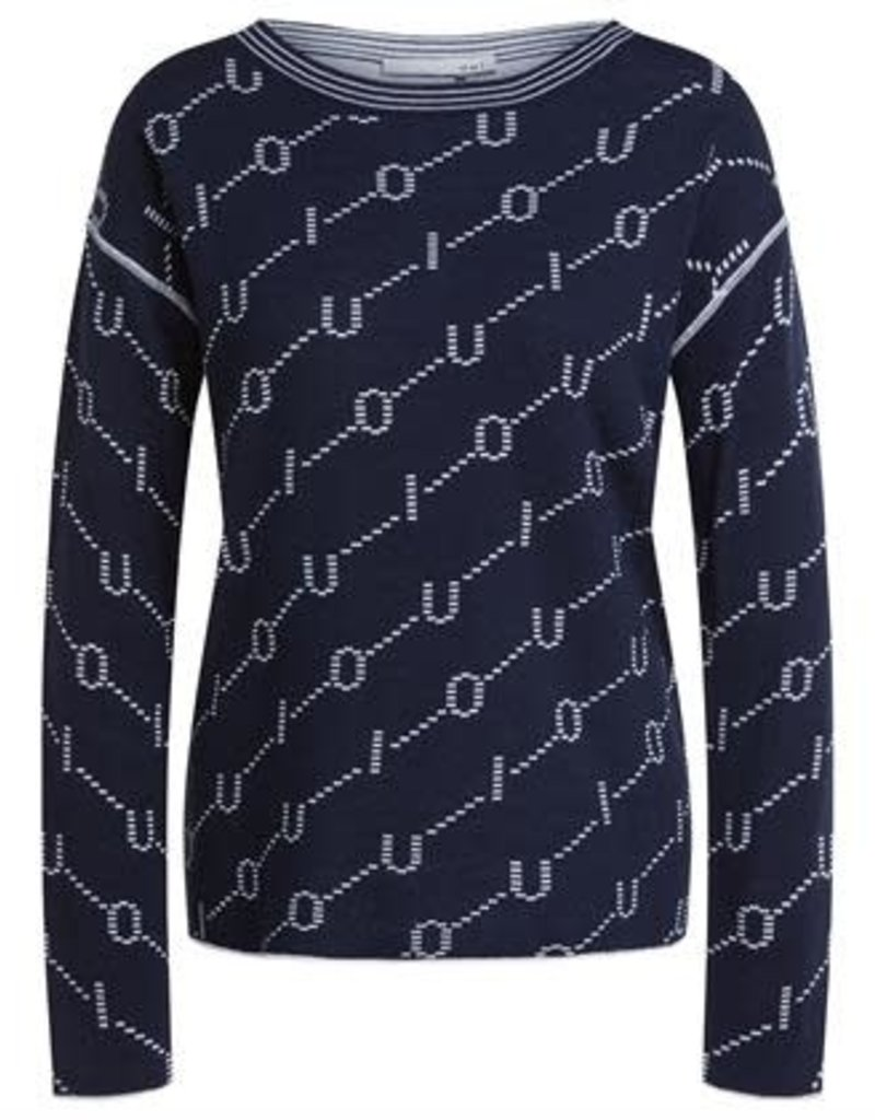 Oui Pullover Ronde hals Print Navy White