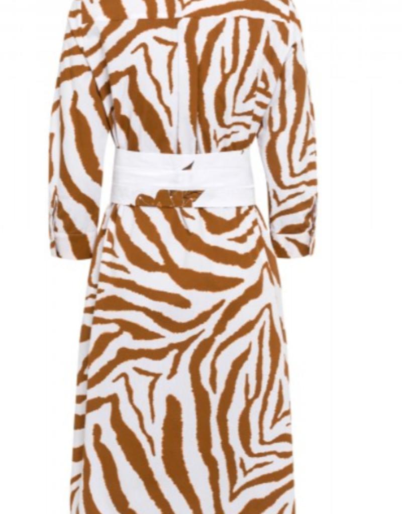 Marc Aurel Lange jurk met ceintuur White varied Print