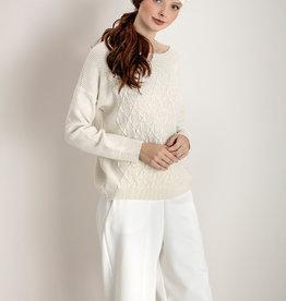 Maria Bellentani Pullover Beige Kabel Glitter