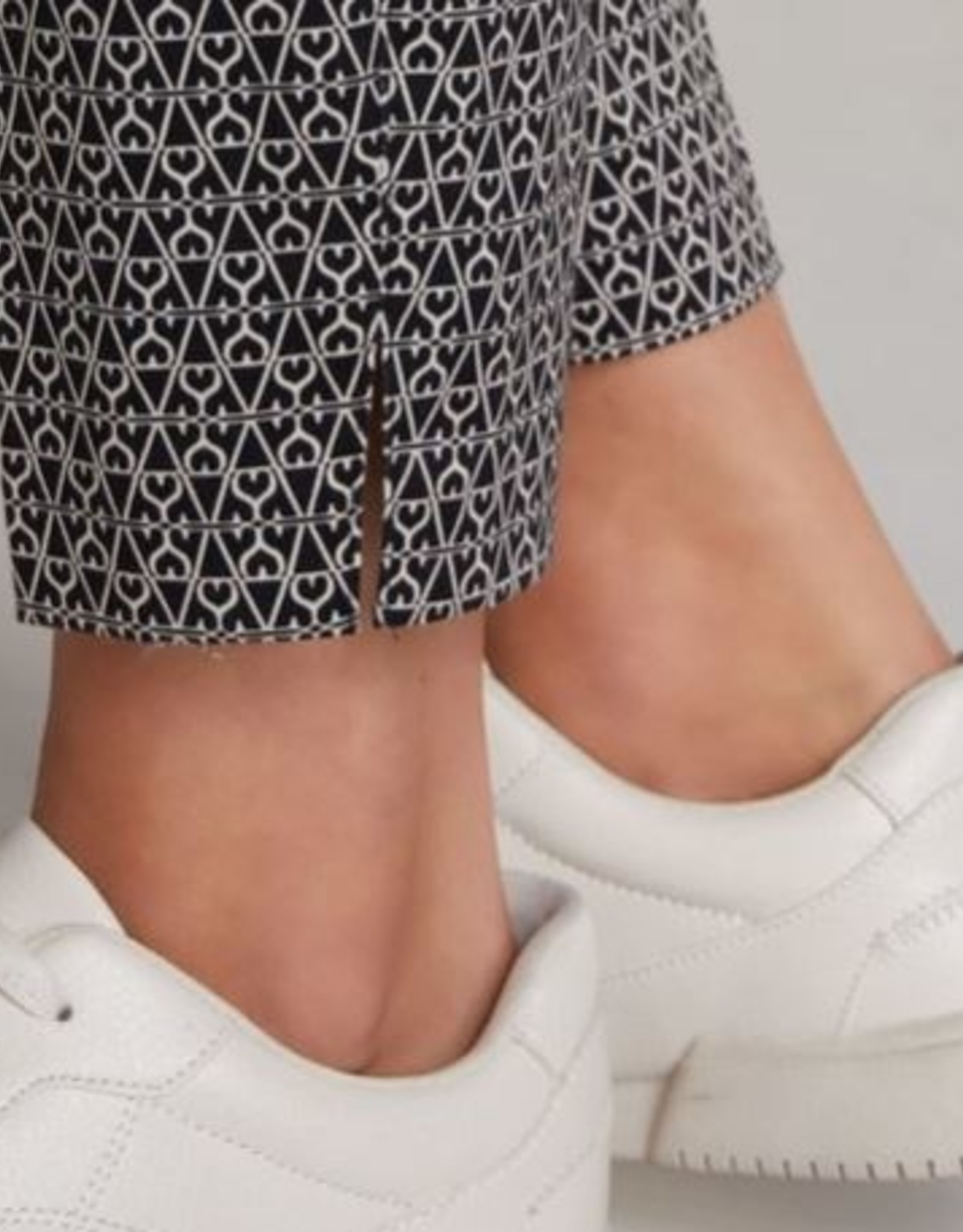 Oui Pantalon Black White Print