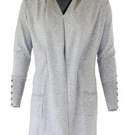 Mooi Loret vest light grey melange shawl kraag ceintuur