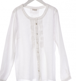 JcSophie Blouse Gray Off White Linnen