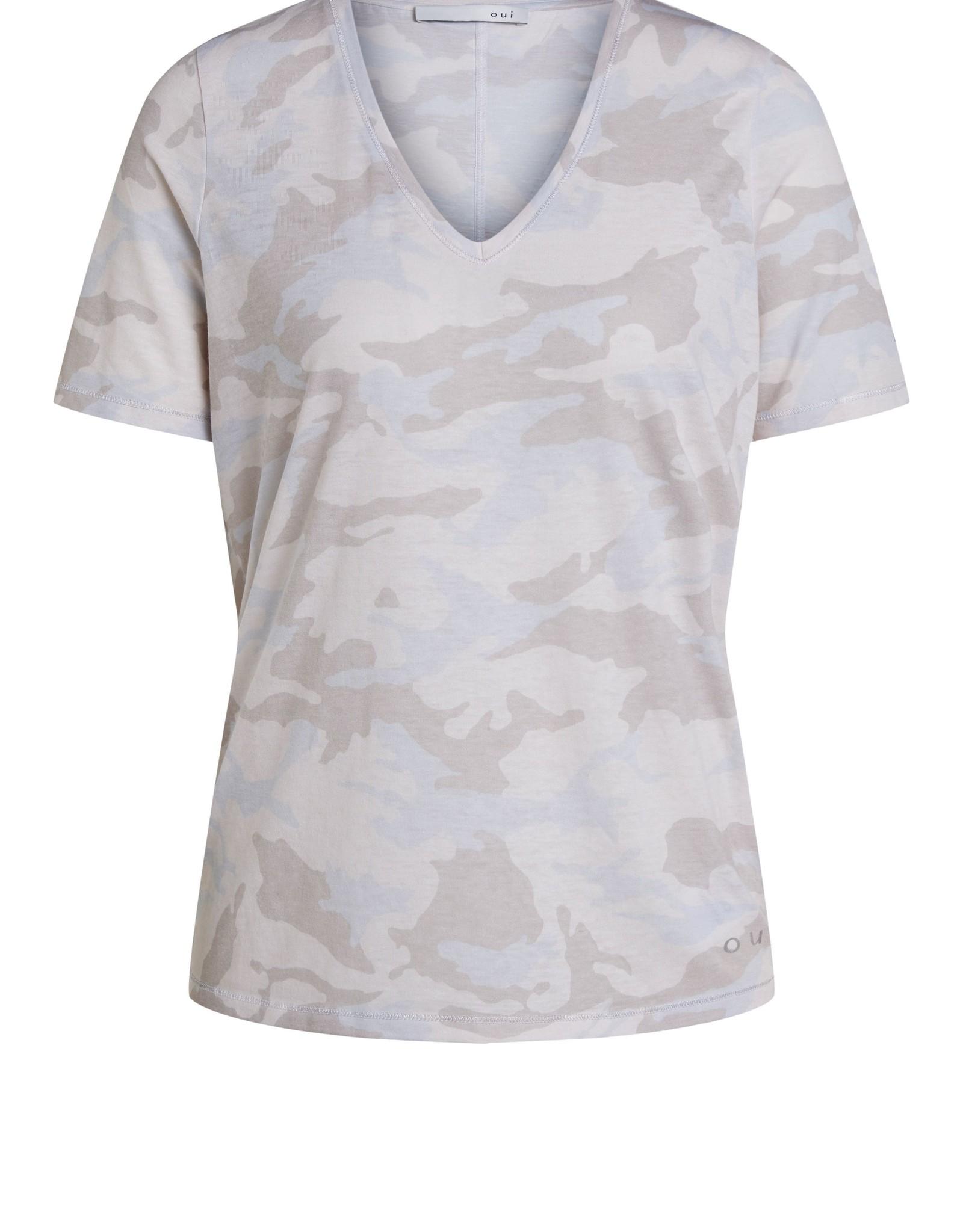 Oui T-Shirt V Hals All Over Print