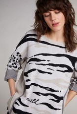 Oui Pullover Greige Print