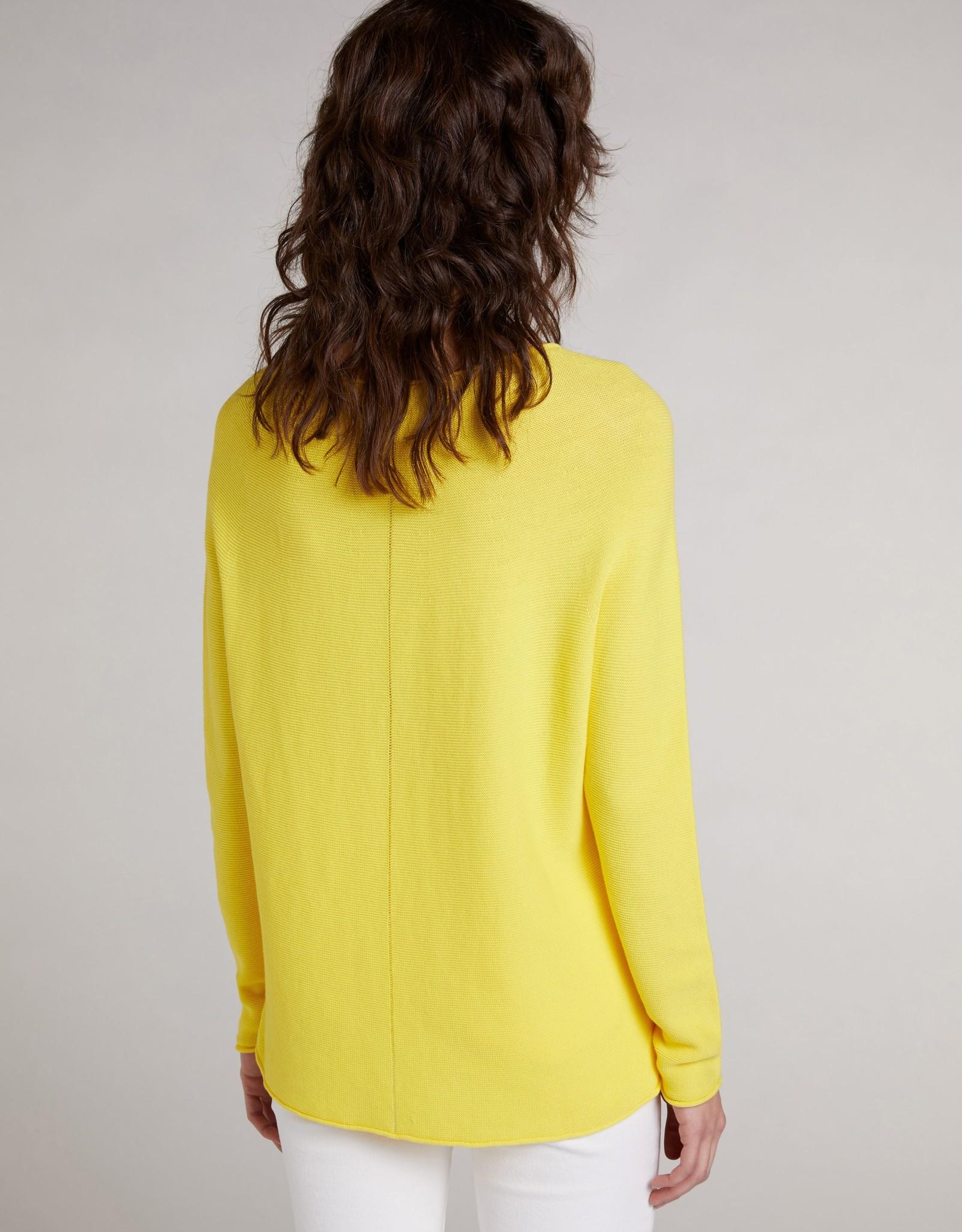 Oui Basis Pullover Geel