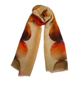 LaSalle Shawl Circels Orange Color Linnen