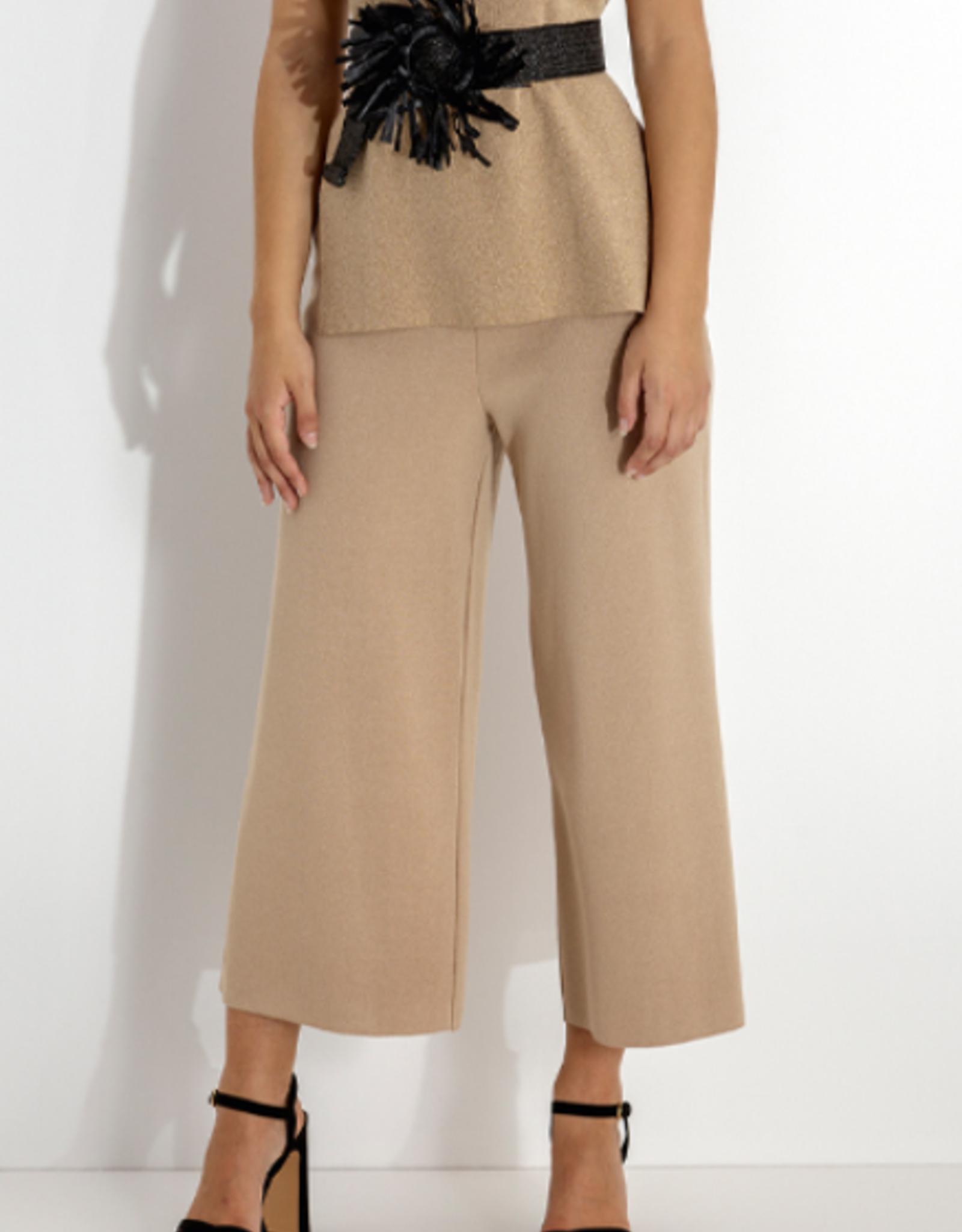 Maria Bellentani Pantalon Culotte Beige Gebreid