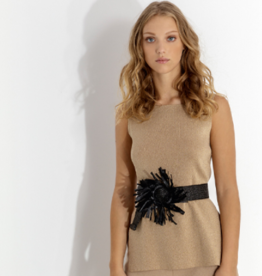 Maria Bellentani Top Beige Gebreid Lurex
