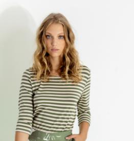 Maria Bellentani T-Shirt Streep Beige Groen