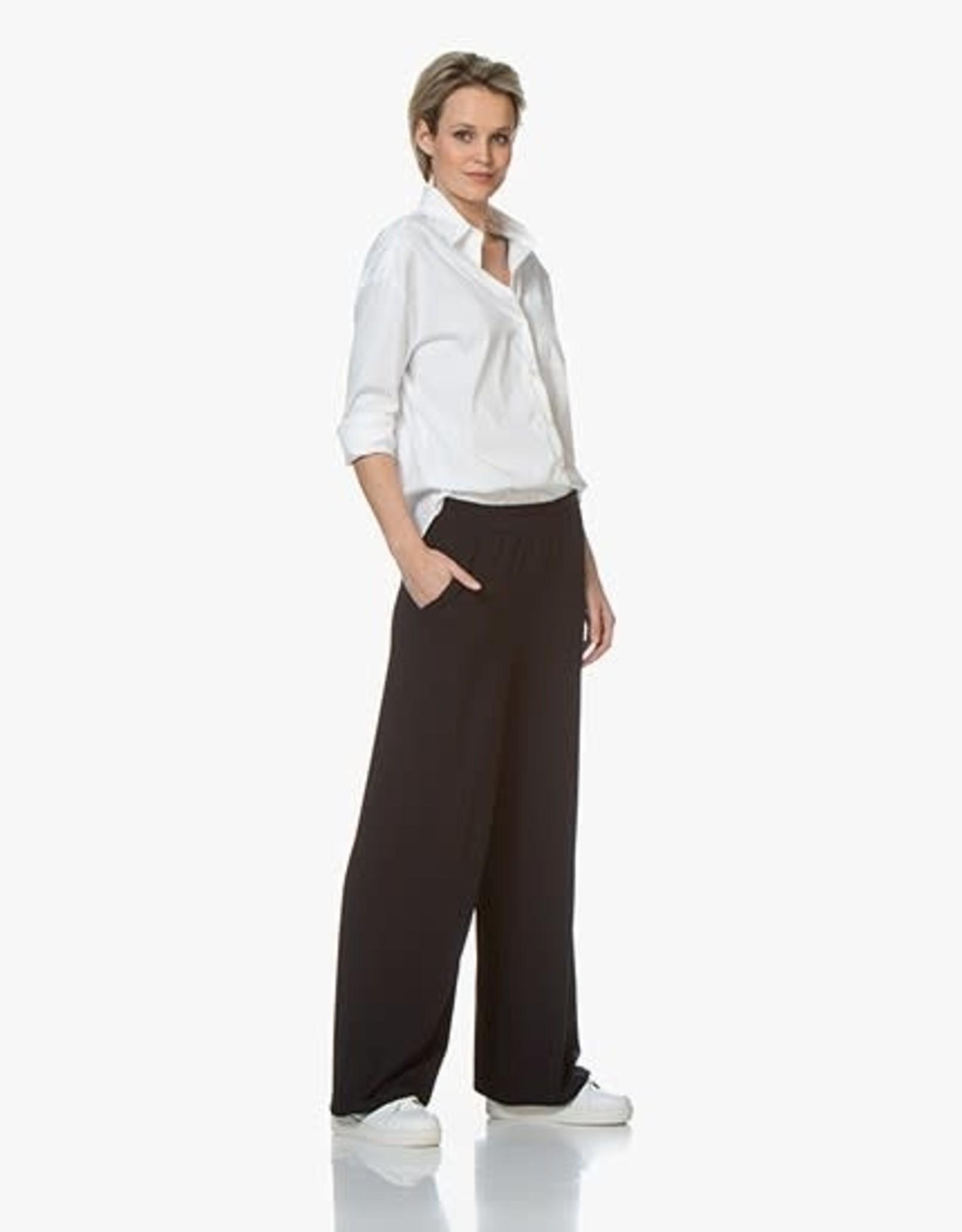 LaSalle Pantalon met wijde pijpen Navy