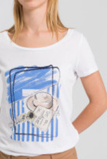 Marc Aurel T-Shirt Front Print Ciel Bleu