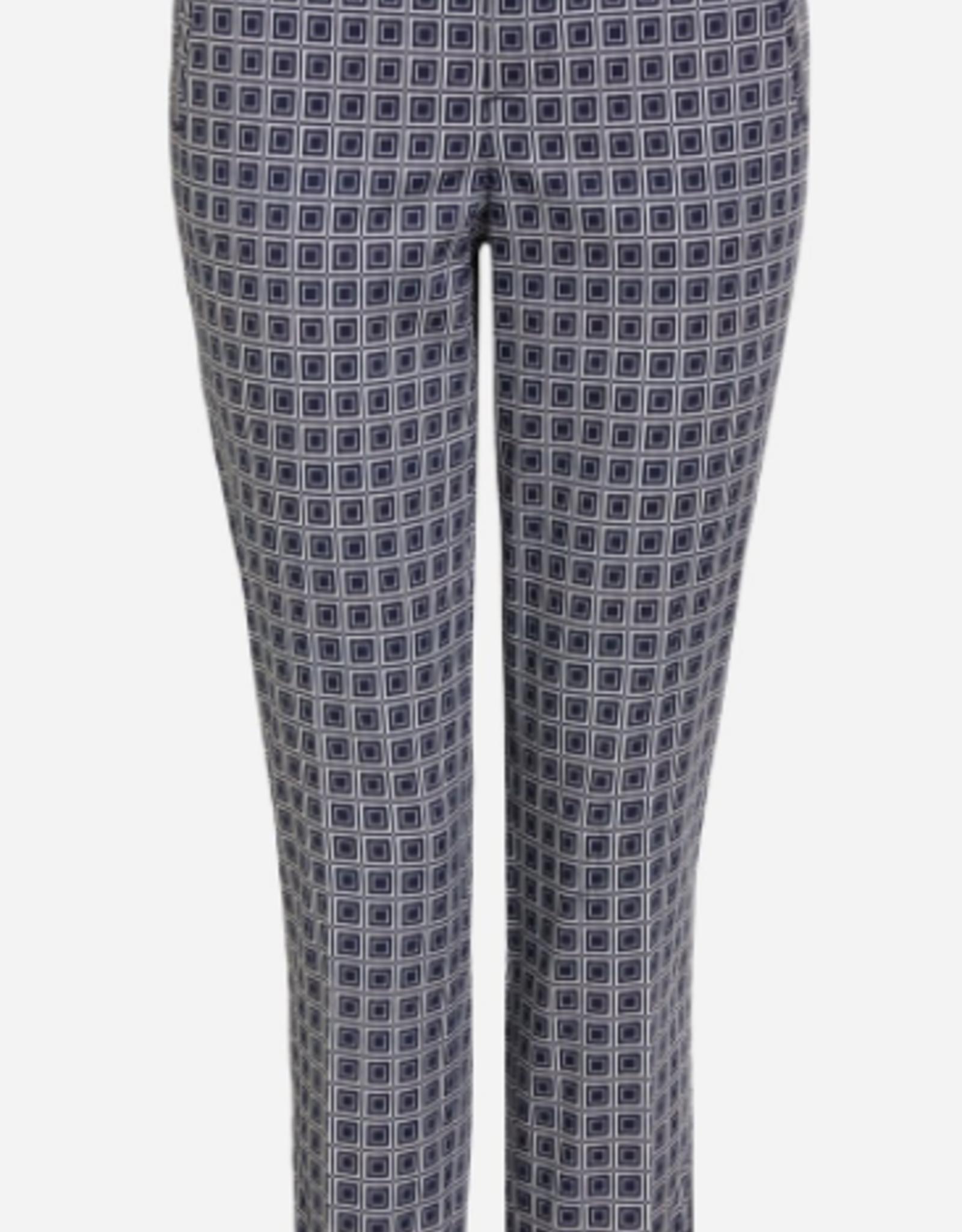 Oui Pantalon Navy Witte Print