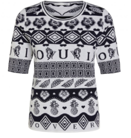 Oui Pullover All Over Print Navy Wit