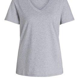 Oui Basis T Shirt V Hals Midden Grijs