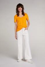 Oui Basis T Shirt V Hals Oranje