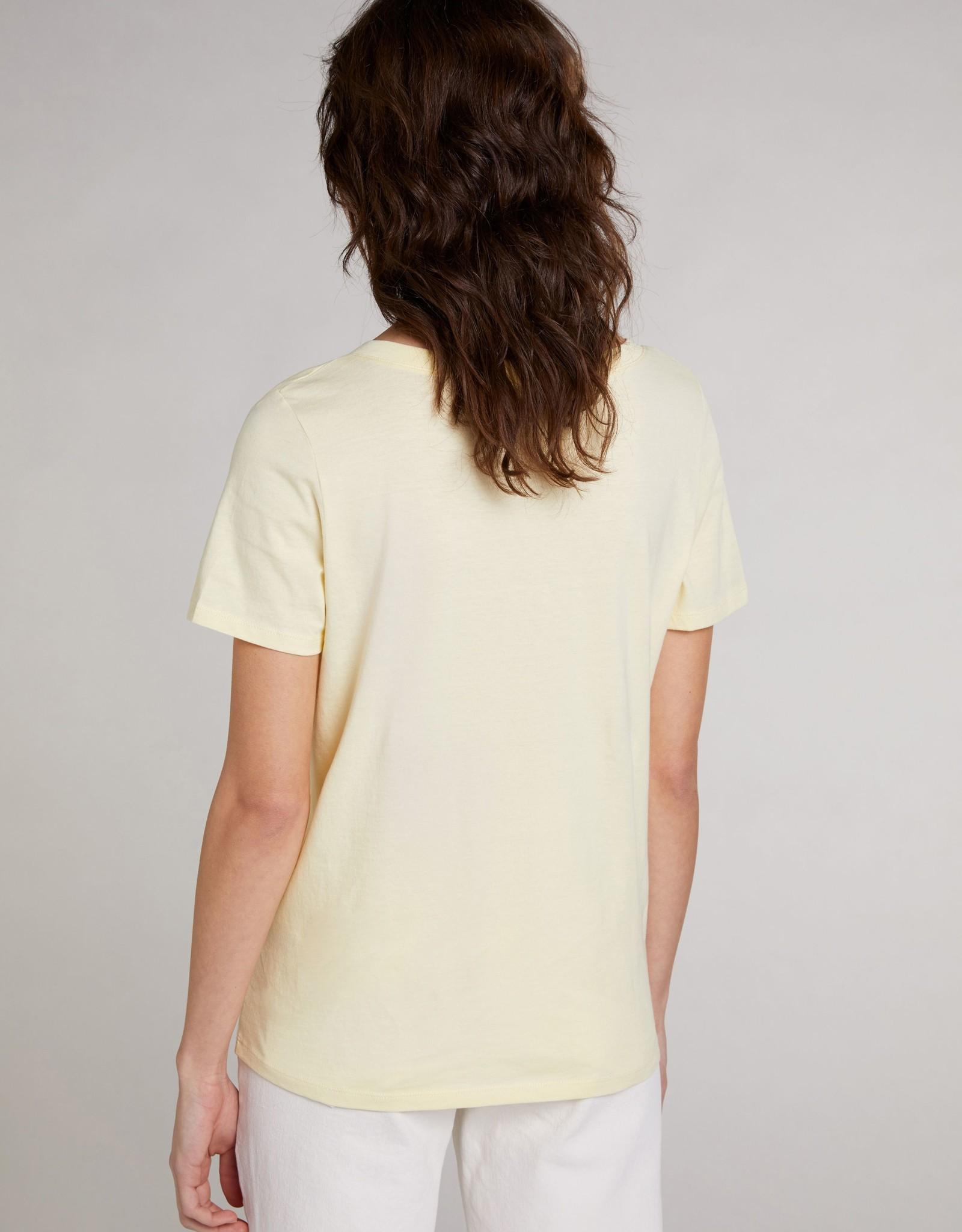 Oui Basis T Shirt V Hals Geel