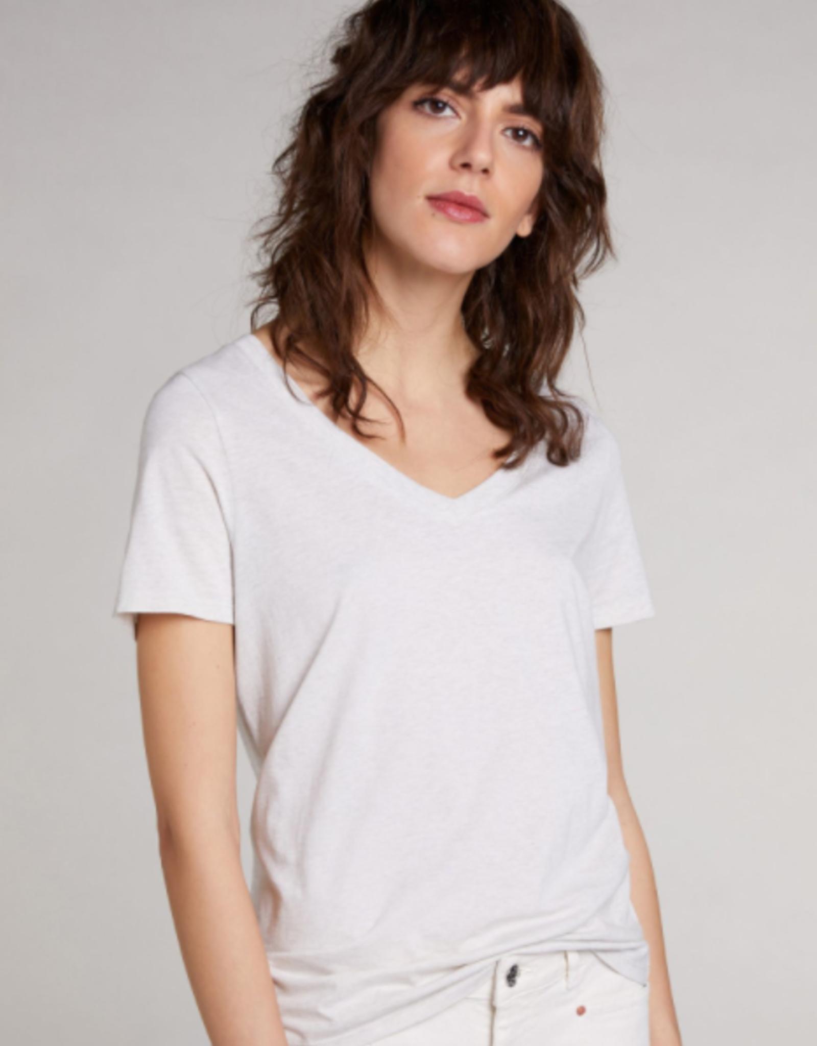Oui Basis T Shirt V Hals Midden Licht Grijs